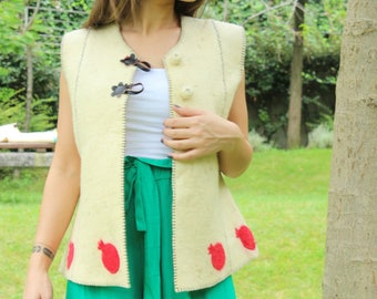 Handmade Women Felt Jacket, Felted Jacket, Merinos Wool Jacket, Felt Vest, Felted Vest, Hand made Merino wool Coat