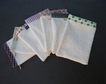 Set of Washcloths with colorful bias