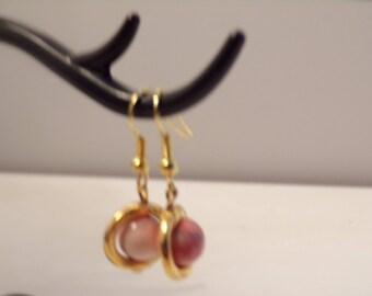 gold tone with orange howlite bead earrings