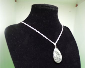 silver plated necklace with sodalite pendant