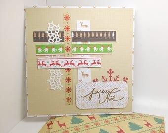 card Christmas 15 x 15 handmade, hand and matching envelope