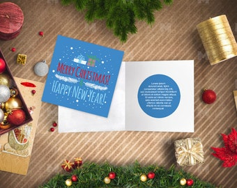 Christmas card double-sided printable,Happy New Year printable,Holiday card, Instant Download,Printable Merry christmas 2018 card,printable