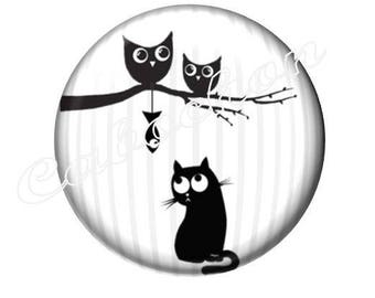 2 cabochons 18mm glass, cabochon cat fish owl OWL silhouette, black and white tone
