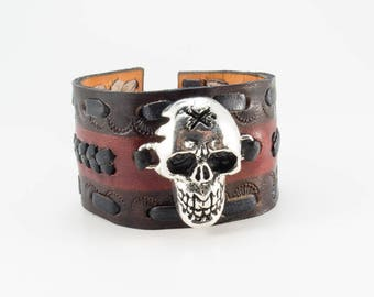 Biker Leather Cuff - Genuine Cowhide Leather Bracelet with Silver Plated Skull - Biker Bracelet for Men