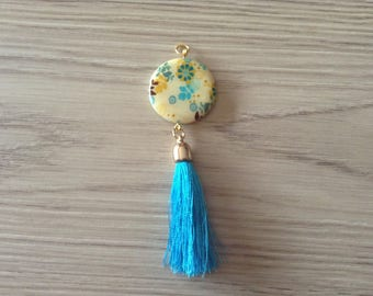 Pearl pendant and turquoise tassel