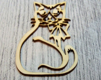 Funny cat 1085 a cut out of wood for your creation