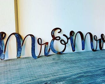 Mr and Mrs metal sign/1 FT/2FT/3FT/3.5FT/Shabby Chic/ Wall decor/Mr&Mrs sign//Metal Words/Bedroom/Wedding Decor/Gallery wall
