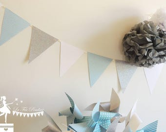 12 - white - silver pastel blue Bunting 155cm