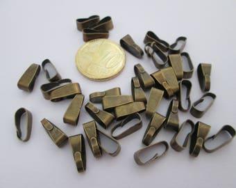 30 bélières pince en métal bronze 11 X 4 mm