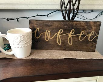 Wooden coffee sign | coffee bar decor | kitchen decor