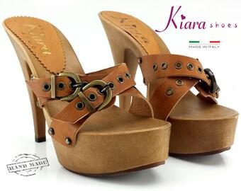 Brown clogs Heel 13 cm-leather plinths-K9330 Leather