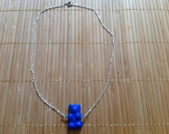 Blue silver small Teddy bear necklace