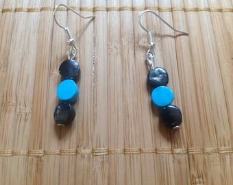 Pair of bicolor blue black earrings