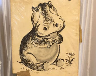 Retro Moppets Hippo Art Drawing by Stina