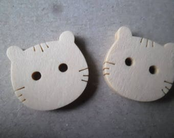 x 5 natural wooden buttons shaped cat 2 hole 19 x 19 mm