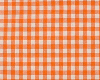 Gingham orange5mm 100% cotton fabric