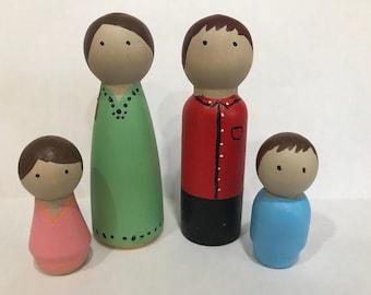 Custom Peg Doll Family of 4
