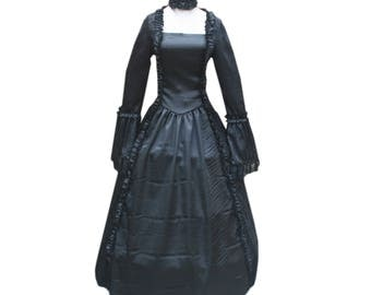 Gothic Renaissance Black Victorian Dress Enchantress Ball Gown Steampunk Dark Punk Theater Outfit Vampire Witch Halloween Costume