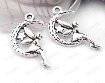20 24 * 13MM Moon Elf E30458 antique silver charms