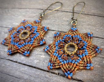 Macrame earrings, Mandala flower earrings, handcrafted