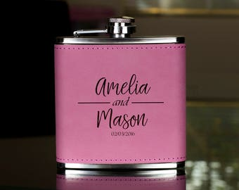 Personalized Flask, Flask For Couple, Maid of Honor Flask, Gift for Bridesmaid, Gifts for Her, Birthday Gift,Bridesmaid Flask, Hip Flask