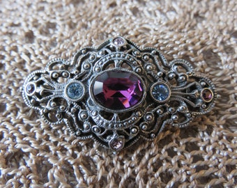 Vintage Open Filigree Brooch with Purple and Blue Stones Very Detailed with Dark Silver toned Metal  #49
