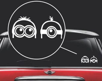 Minions Peeking Vinyl Window Decal Sticker