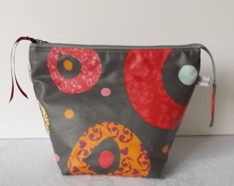 Toilet bag, makeup, colored in gray, coated cotton waterproof coated cotton beige interior