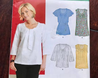 New Look 6868 Size 8-18 2000s Women's Sewing Pattern Four Blouses - All with Scoop Neck Flutter Sleeve, 3/4 and Sleeveless Cute UNCUT NEW