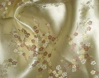 Chinese yellow satin fabric / gold / gilt 100% polyester - price per meter