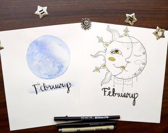 Celestial Bullet Journal February Monthly Set Up, Lunar Calendar, Space theme Printables