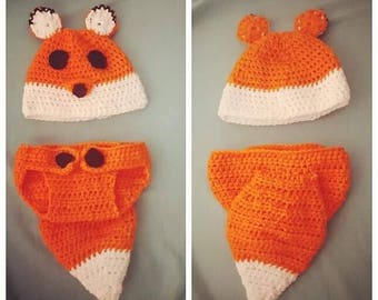 Crochet Infant Outfit - Hat and Diaper Cover