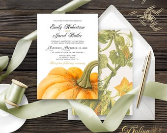 Rustic Wedding Invitation Country Wedding Invitation Printable Fall Wedding Invite Pumpkin Wedding Invitation Autumn Invitation Editable PDF