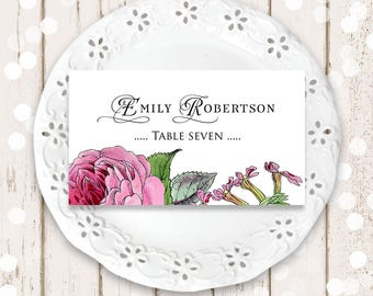 Rose Place Cards Floral Wedding Printable Name Place Cards Garden Rose Wedding Escort Cards Rustic Wedding Place Cards Template Table Cards