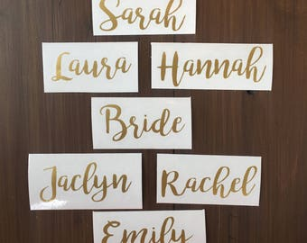Wine Glass Decals, Name Decals,  DIY Wine Glasses, Bridal Party Wine Glasses, Stemless Wine Glasses, Wedding Glasses, Bachelorette Party