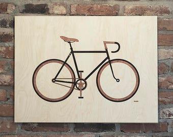 Bike wuzzle art wooden wall decor