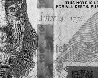 Black & white Benjamin Franklin, Money Photography, Money art, Fine art, office decor, 100 dollars,  Modern contemporary, Instant download
