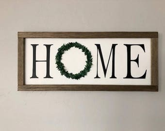 Home boxwood Wreath Farmhouse Sign/Home Decor/ Wall Sign/ Farmhouse Decor/Handmade Wood Signs