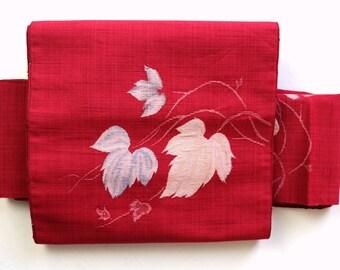 Authentic Japanese Vintage Nagoya Obi Leaves Crimson Red M165