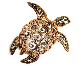 "Sea Turtle Wall Art - Wooden Sea Turtle - Sea Turtle Sculpture - Sea Turtle Carving - Turtle Art - Birthday Gift - Christmas Gift - 15"""