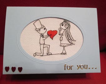share embroidered wedding or Valentine's day - man offering his heart (customizable)