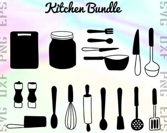 Kitchen SVG Files - Kitchen Dxf Files - Kitchen Clipart - Cook Cricut Files - Baker Cut Files - Kitchen Silhouettes - Svg, Dxf, Png, Eps