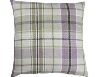 Troon Lavender Checked Tartan Plaid Cushion Cover