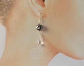 "Earrings ""Versailles"" clear acrylic grey shamballa beads"