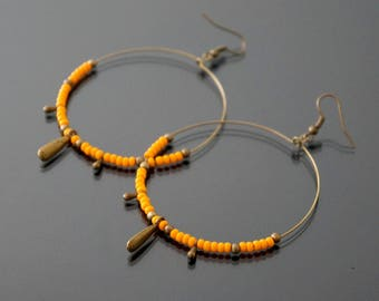 Hoop earrings minimalist bronze and orange.