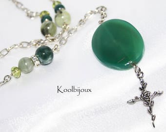 MOSS green agate Rosary jewelry