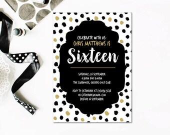 16th Birthday Invitation, Sweet Sixteen, Teenager Birthday, 16th Birthday Template, 16th Invitation Editable, Editable Birthday Invitation