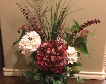 Floral Arrangement Home Decor Burgandy/Cream Colors