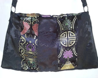 Crossbody bag with fabric Chinese multi-color