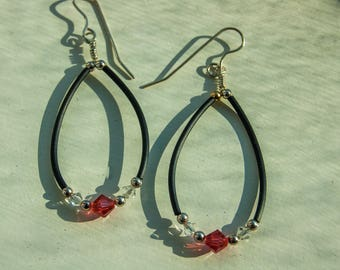 Pink and white Swarovski Crystal earrings